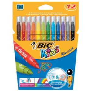 Bic Kids Couleur Medium Tip Ultra Washable Water-based Felt Tip Pen (Assorted Colours) Pack of 12