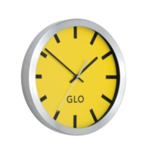 GLO Aluminium Wall Clock 310mm Diameter (Lemon Face)