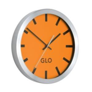 GLO Aluminium Wall Clock 310mm Diameter (Orange Face)