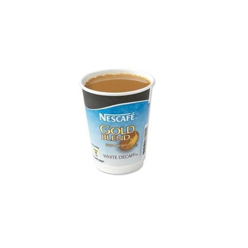 Nescafe And Go Gold Blend White Decaffeinated Coffee Foil Sealed Cup Pack Of 8 Cups For Nescafe And Go Drinks Machine